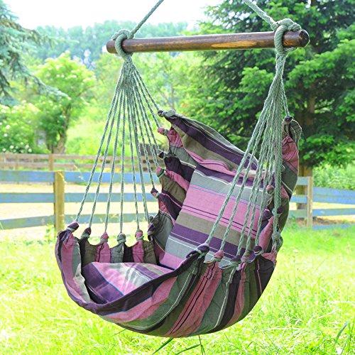 Kinderhängesessel Hängestuhl Hängeschaukel Hängesitz für Prinzessinen und Prinzen violett mit zwei Kissen aus 100% Baumwolle