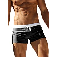 OUO Mens Swimming Boxer Trunks Front Tie with Back Pocket