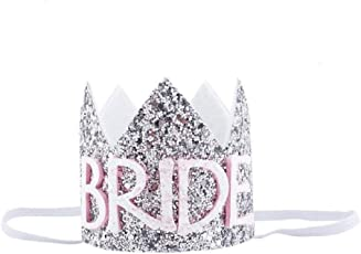 Ziory 1pc Silver 'Bride to Be' Headband Tiara Crown Hat Cap Bachelorette Party Accessories Wedding Bridal Shower Decorations Hen Party Girl