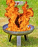 Nick and Ben Feuer-Schale Stahl Vollmetall Silber 80cm XXL Feuer-Korb Grill Garten-Kamin Pflanz-Schale Terrassen-Ofen