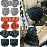 Sedeta® 1PSC frente + 1PCS atrás silla de asiento de coche cubre Cojín interior automotriz de terciopelo de seda para conductor SUV asiento almohadilla protecor pad negro