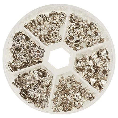 Antik Korn (PandaHall Elite 180 Stück Tibetischen Legierung Blumen Korn Perlenkappen Zwischenperlen Metallperlen Perlkappen Antik Silber)