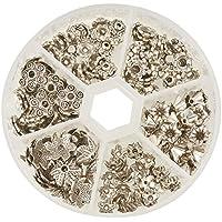 Pandahall 1 Scatola 180PCS Perline per Bigiotteria in Lega Forma Fiore Coppette Copriperla Stile Tibetano, 6 Stile Misti, Argento Antico, 7x4mm, Foro: 1 mm