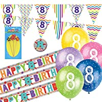 8th Birthday Kit: 8th Birthday Bunting, Banners, Balloons, Badge, Candle