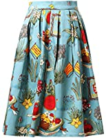 Grace Karin® Vintage 1950's Floral / Polka Dot Summer Casual Skirt