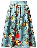 damen faltenrock vintage rockabilly röcke knielang blumenröcke CL6294-6 S