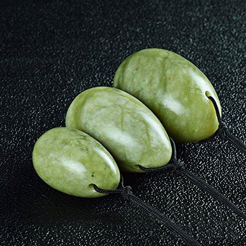 HANSHI grüne Jade Yoni Eier Dreierset mit 3 Größen Gebohrt mit ungewachster Seidenschnur Jadeit Ei Vulva Ei Beckenbodenmuskulatur Massage und Übung Stein 3 Größe L/M/S HYS06-U (Ei Stein)