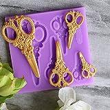 Kicode Silicone dell'annata Forbici a forma di oro Torta di torta di fondente di Cupcake Decorazione torta da forno Strumenti stampi