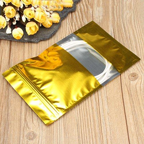 CHENXI Shop 100Gold Aluminium Folie Stand Up Taschen Zip Lock Mylar Beutel 12¡á20cm