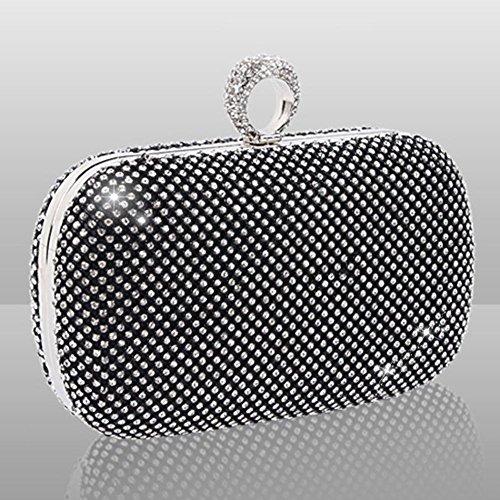 kristall gold silber schwarz inkrustierter diamant abendtasche kupplung hochzeit geldbörse party box. (16.5 x 13 cm) black
