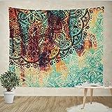 Goldbeing indischer Wandteppich Wandbehang Mandala Tuch Wandtuch Gobelin Tapestry Goa Indien Hippie-/ Boho Stil als Dekotuch /Tagesdecke indisch orientalisch psychedelic (203 x 153cm, Türkis Halbkreis) Größe: L