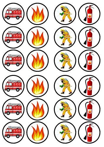 Feuerwehr Feuerwehrmann /, PREMIUM-Stärke, gesüßt, Vanille, essbar, Reispapier, Cupcake-Dekoration/Verzierung,