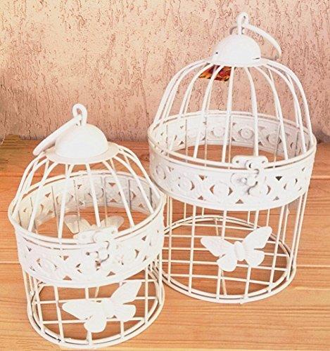 Coppia gabbie uccelli vintage 23cm Shabby Chic rotonda - colore avorio