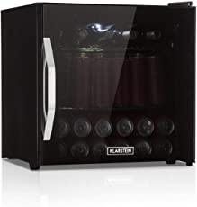 Klarstein Beersafe L Onyx Getränkekühlschrank mit Glastür • Mini-Kühlschrank • Mini-Bar • 47 Liter • 0 bis 13 °C • nur 42 db • LED-Innenbeleuchtung • 2 Metalleinschübe • Edelstahlrahmen • schwarz