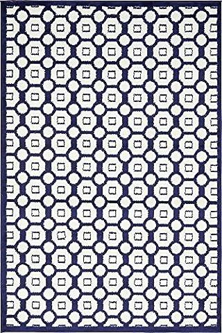 Modern Geometric 4-Feet by 6-Feet (4' x 6') Metro Navy Blue Contemporary Area Rug