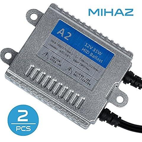 Mihaz UKJH-057 Super Bright 12V 35W H1 H3 H4 H7 H11 9005 9006 6000K Xenon Hid Light Ballast Headlight Front Fog Light Replacement Bulbs Conversion Kit(2Pcs 35W Ac