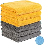 Microfiber Cleaning Cloth for Cars, Car Detailing Cloth n Microfiber Wax Applicator Combo for Car Washing, Dry