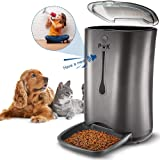 PUPPY KITTY 6.5L Automatic Pet Feeder for Cats & Dogs, Up to 4 Meals a Day Automatic Pet Food Dispenser, Includes Voice Recorder and Digital Timer Programmable Cat Food Dispenser.(black)