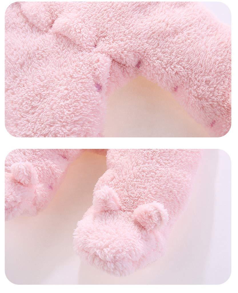 Bebé Mono Invierno Mameluco Vellón Body Recién nacido Peleles Traje de Nieve Pijamas Espesar Traje de Dormir, 0-3 Meses 4