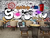 OOFYHOME Wall Sticker Europe and the United States Retro Graffiti Wall Sticker KTV Bar Poster Mural Hotel Bedroom Bathroom Decor , 320cm wide x200cm high (need splicing)