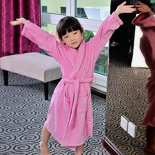 FERFERFERWON Nachthemd Kinderbademäntel, Baumwollhandtücher, Jungen und Mädchen, Bademantel, Baumwollbad, Bademantel, Dicker Winter (Farbe: Pink, Größe: S) (Farbe : Pink, Größe : Small) - Jungen-bademäntel Small Größe