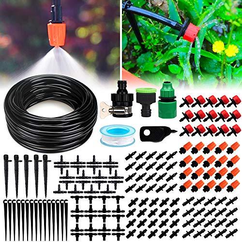 landrip sistema di irrigazione, impianto di irrigazione a goccia balcone terrazzo giardino, diy kit irrigazione automatico a tubo terrazzi giardini(15 metri)