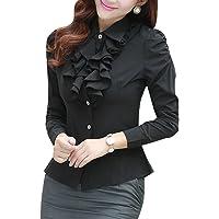 Yasong Women Ladies Long Sleeve Formal Top Work Blouse Frill Ruffle Blouse
