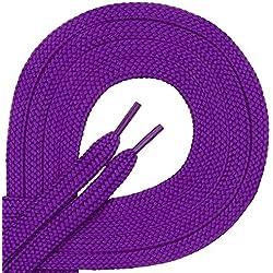 1 par de cordones Di Ficchianoplanos, de poliéster, resistentes,de 7mm aprox. de ancho, en 27colores, 60-200cm de longitud, color Morado, talla 70 cm