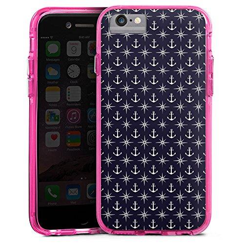 Apple iPhone 8 Bumper Hülle Bumper Case Glitzer Hülle Anker Kompass Muster Bumper Case transparent pink