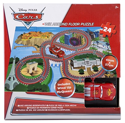 Brigamo 555402 – Disney Cars Wiz Around Puzzle, Bodenpuzzle inkl. Lightning McQueen Spielzeugauto - 2