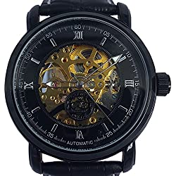 Orkina Mens Black Skeleton Dial Automatic Mechanical Leather Strap Wrist Watch KC145-B