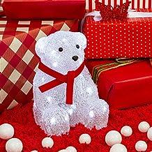Décoration lumineuse d'intérieur, Ours polaire assit avec écharpe, h. 21,5 cm, 32 LED blanc froid, lumière fixe, à piles
