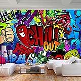 decomonkey Fototapete Graffiti 250x175 cm XL Tapete Fototapeten Vlies Tapeten Vliestapete Wandtapete moderne Wandbild Wand Schlafzimmer Wohnzimmer Street art Ziegelstein Jugendzimmer bunt