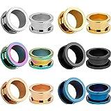 KUBOOZ 12 pezzi Set di tappi per le orecchie avvitati in acciaio inox colorato Tunnel Calibri Piercing per barella
