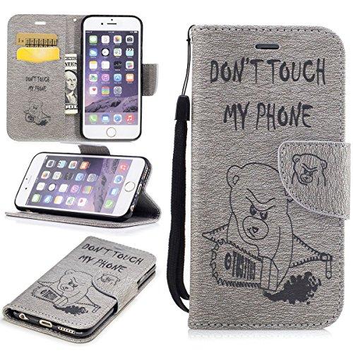 """MOONCASE iPhone 6/iPhone 6s Coque, [Impression Ours] Coque Portefeuille [Card Slot] Housse en Cuir Case à rabat avec Béquille pour iPhone 6/iPhone 6s 4.7"""" Saphir Gris"""