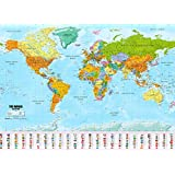 Weltkarte XXL Poster im Riesenformat mit Fahnen & Flaggen - Top Qualität (140x100cm)