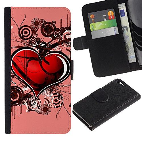 Graphic4You Herz Liebe Romantisch Niedlich Design Brieftasche Leder Hülle Case Schutzhülle für Apple iPhone SE / 5 / 5S Design #3