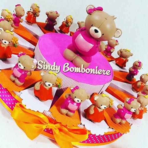 Sindy bomboniere bomboniera battesimo nascita primo compleanno orsetti bambina rosa a torta (torta da 20 fette + centrale + 20 orsetti + confetti rosa)