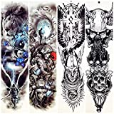 lijinjin Adesivo Tatuaggio Temporaneo Spartans Warrior Temporarty Tattoo Stickerslarge Full Arm Fake Impermeabile Lion Face Tattoo Paste Power Uomo Donna 48X17Cm 4Pc