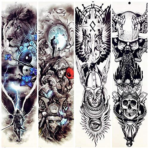 lijinjin Temporäre Tattoo-Aufkleber Spartans Warrior Temporarty Tattoo Stickerslarge Full Arm Gefälschte wasserdichte Löwen Gesicht Tattoo Paste Power Männer Frauen 48X17 cm 4 Stück