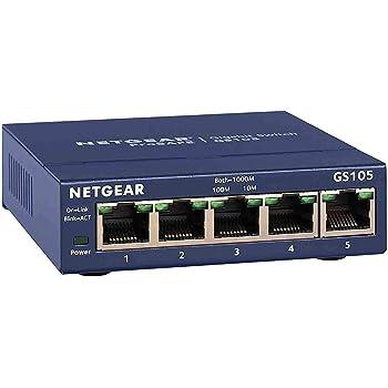 Netgear GS105GE 5-Port Unmanaged Gigabit Kupfer Switch (Plug-and-Play, bis zu 1000 MBit/s Datenübertragung, Lüfterlos, Metallgehäuse)