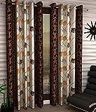Door Curtain 9 Ft (Set of 2 Eyelet Polyester Living Room Long Door Curtain ,4 Feet x 9 feet Colour Coffee