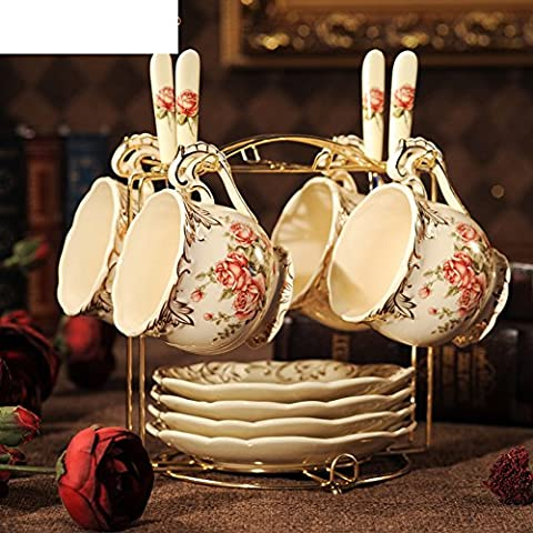 Juego de taza de café de estilo europeo/ juego de té cerámica/rojo/Inglés tarde té Copa-B