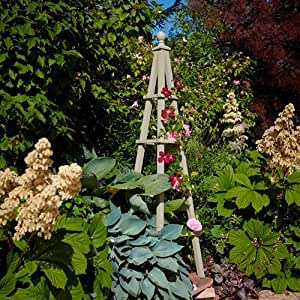 rustic garden 5ft wooden obelisk flower climbing frame french grey obs5 garden. Black Bedroom Furniture Sets. Home Design Ideas