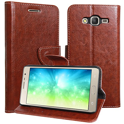 DMG Galaxy On7 Pro Flip Cover, Sturdy PU Leather Wallet Book Cover Case for Samsung Galaxy On7 Pro (Brown)