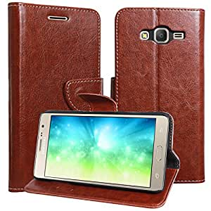 cheap for discount 4545d d3e9b DMG Galaxy On7 Pro Flip Cover, Sturdy PU Leather Wallet Book Cover Case for  Samsung Galaxy On7 Pro (Brown)