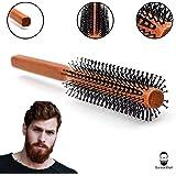 Männer Rundbürste für den Bart und kurze Haare 32 mm Ø | Bartbürste für den Mann | Föhnbürste mit speziellen Noppen | rund Haarbürste aus Holz