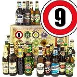 Beziehung Geschenk zum 9. Jahrestag + Geschenk Box mit 24 Bieren der Welt und Deutschland + Geschenk Karten + Bier-Bewertungsbogen + Personalisierte Geschenk Box - 9 + Geschenk Set zum 9 Ehrentag Männer Geschenke Geschenk Idee für Männer Herren Geschenk Box Biergeschenke