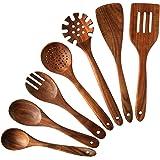Nayahose Lot de 7 ustensiles de cuisine en bois, élégants, solides et antiadhésifs Cuillères et spatule en bois de teck Pour