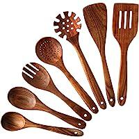 NAYAHOSE Lot de 7 cuillères et spatules en bois de teck pour la cuisine, élégantes, vendues et antiadhésives pour un…